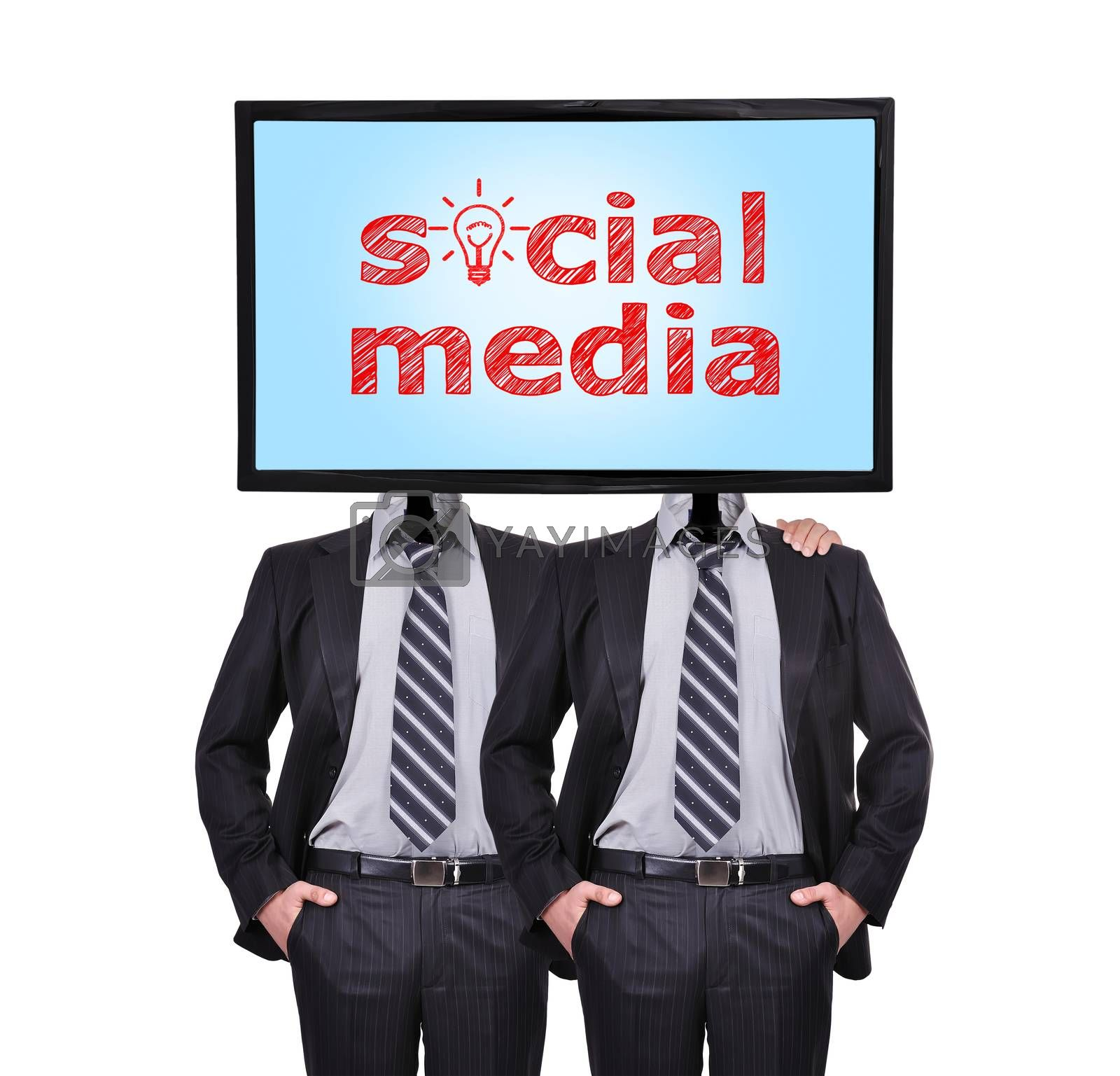 two businessmen with a monitor for a head, social media concept