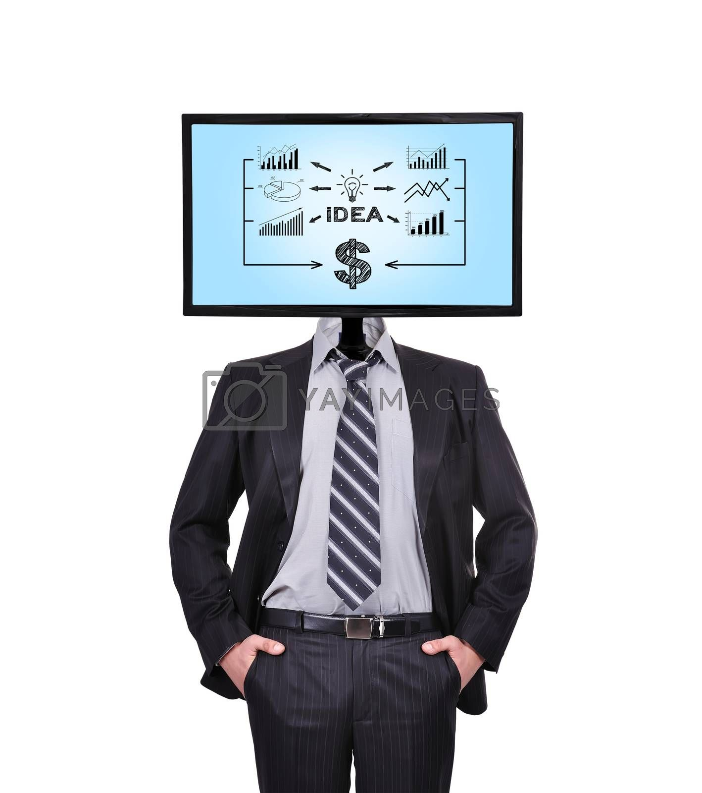 businessman and monitor with business idea  for a head