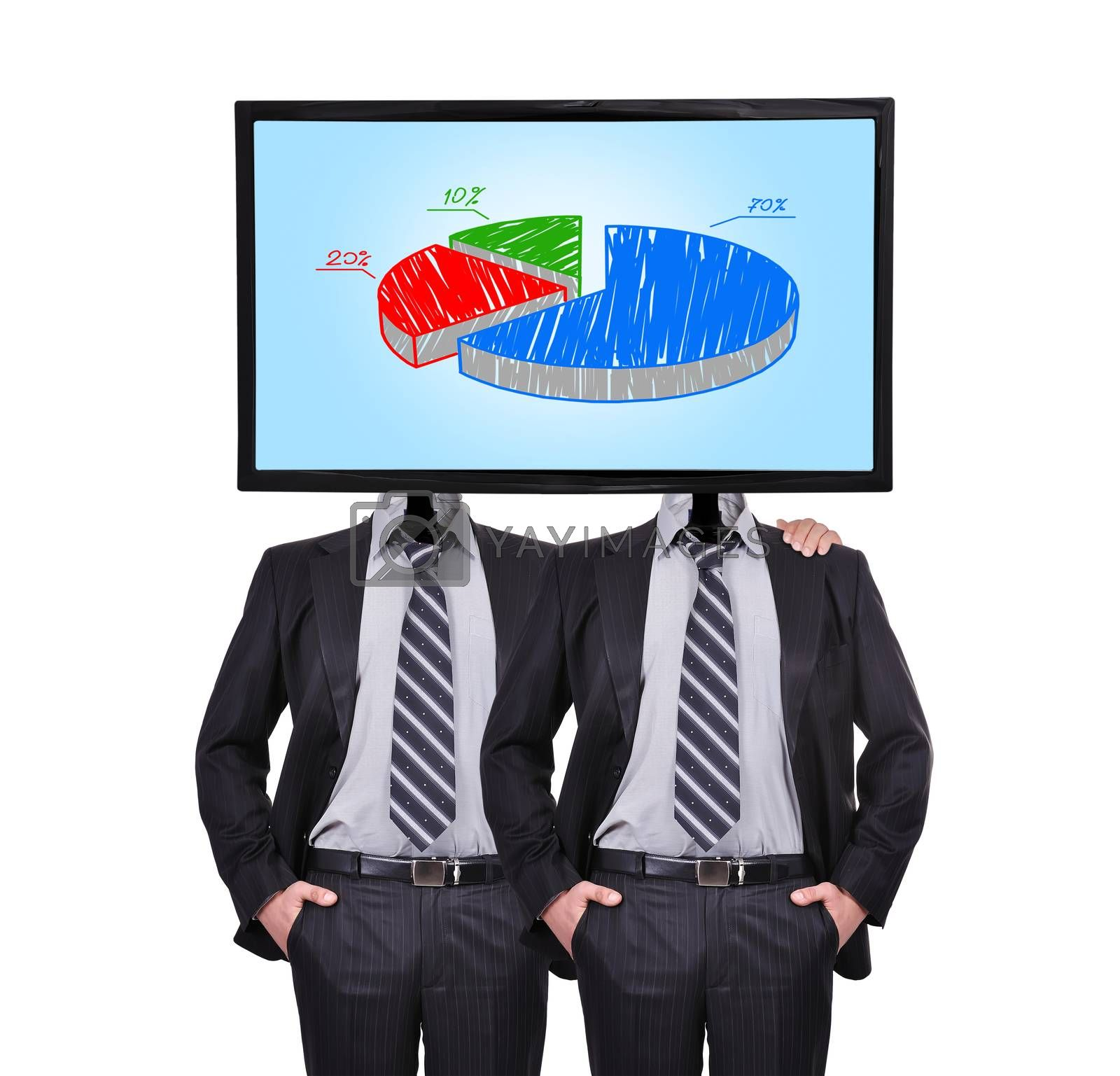 two businessman and monitor with chart for a head