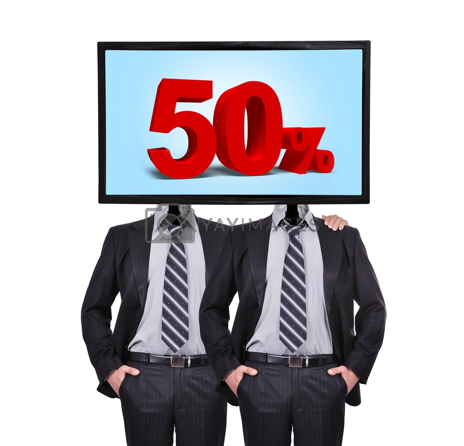 two businessmen standing with a monitor for a head, discount concept