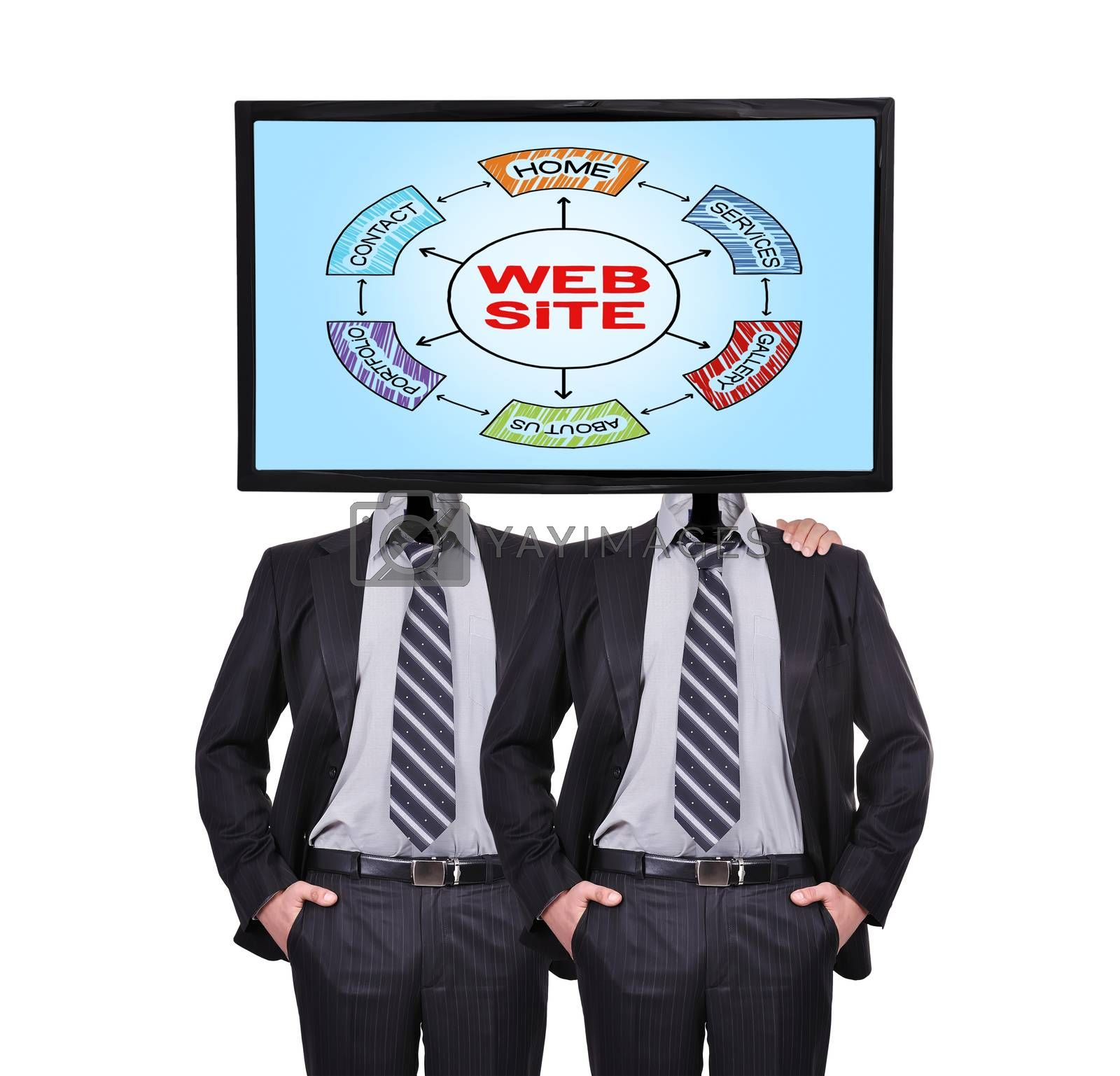 businessmans and monitor with web site for a head