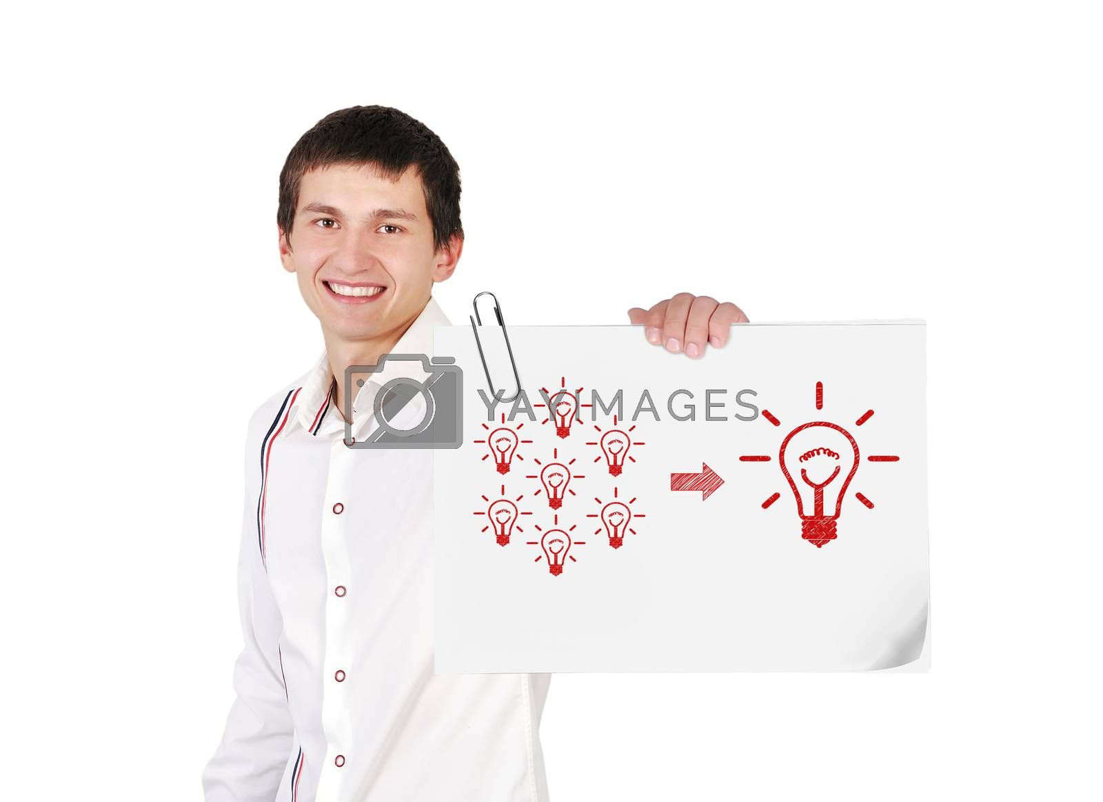 guy holding poster with  solution cpncept