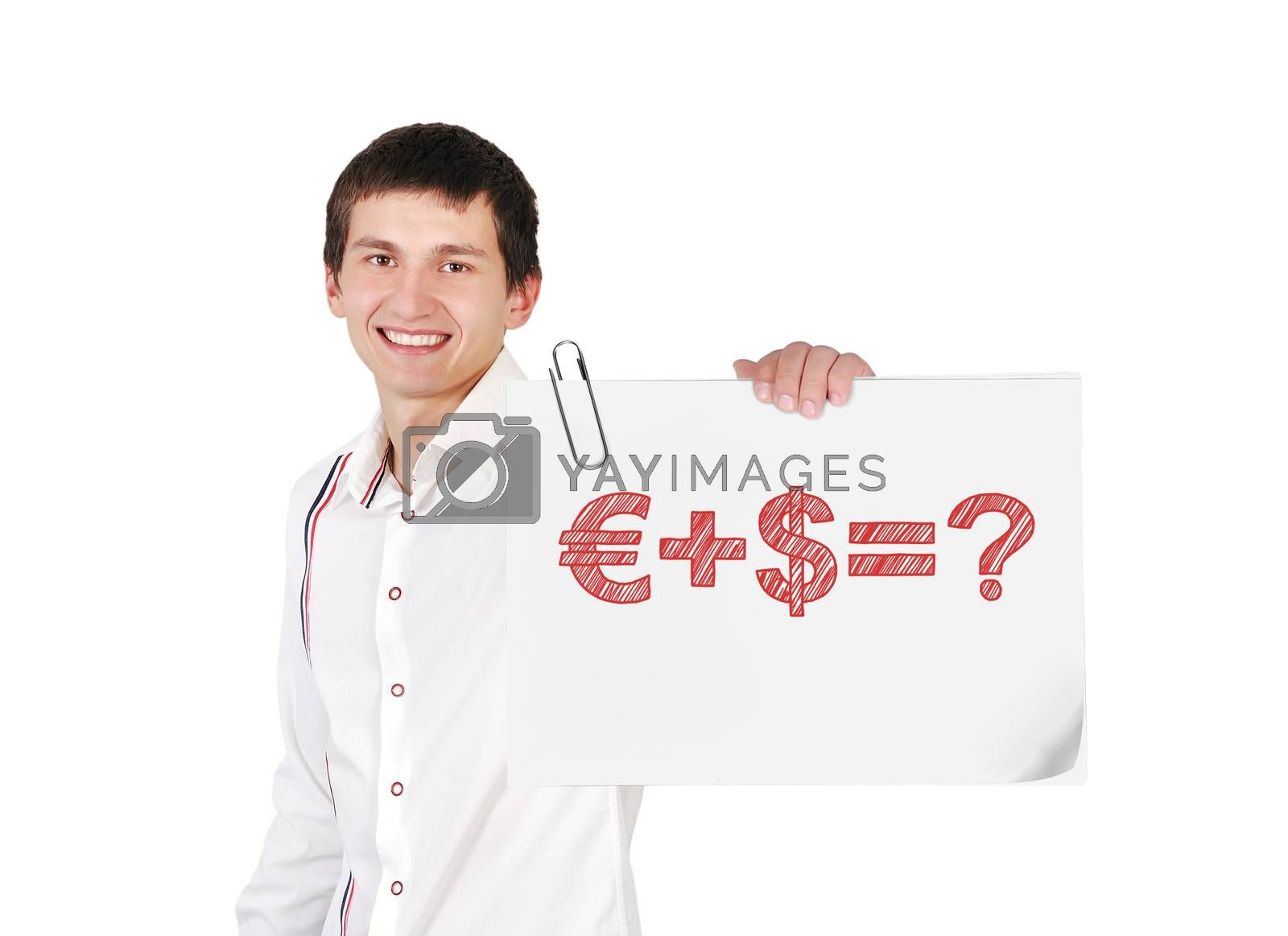 guy holding poster with business formula