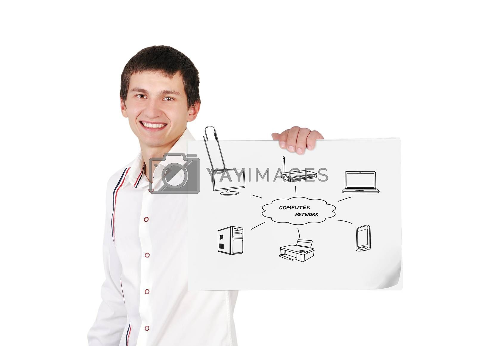 guy holding poster with computer network