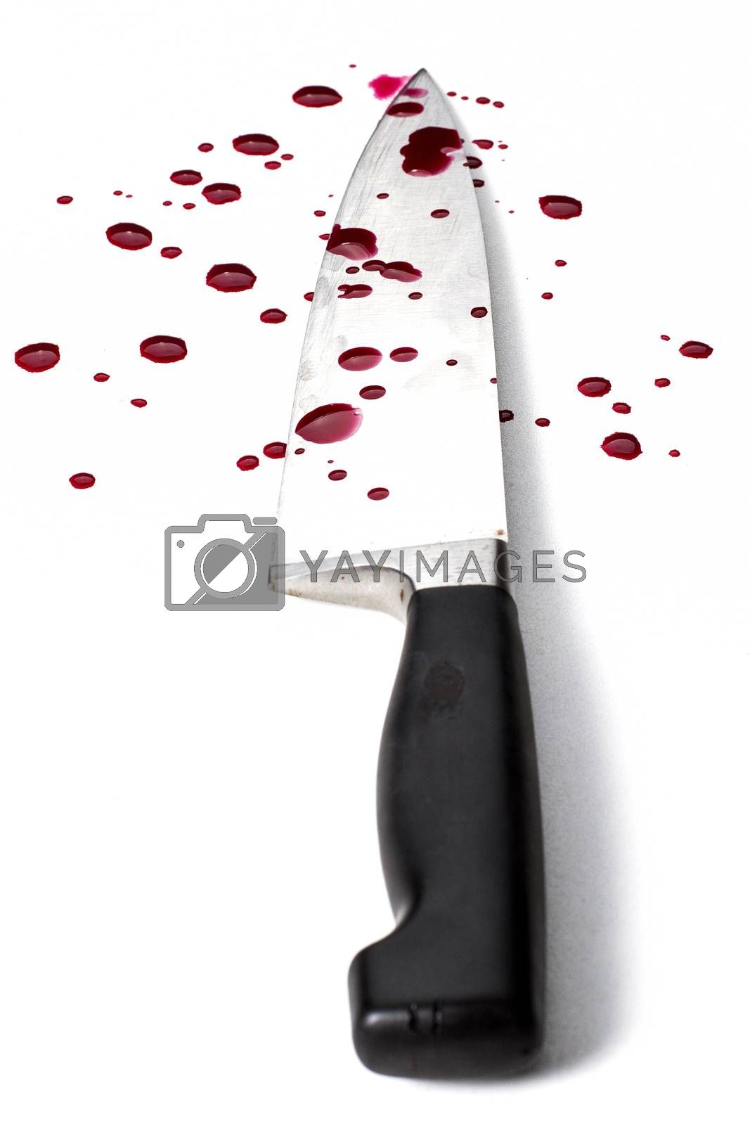 knife on white background with blood