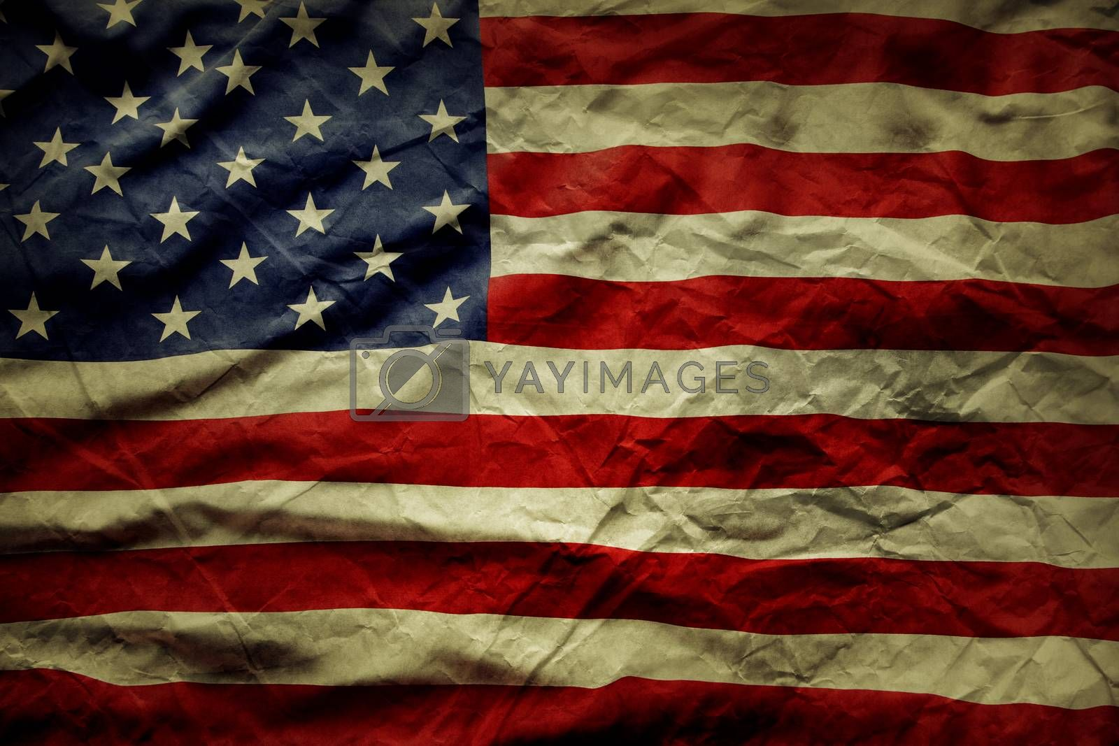 Closeup of wrinkled American flag