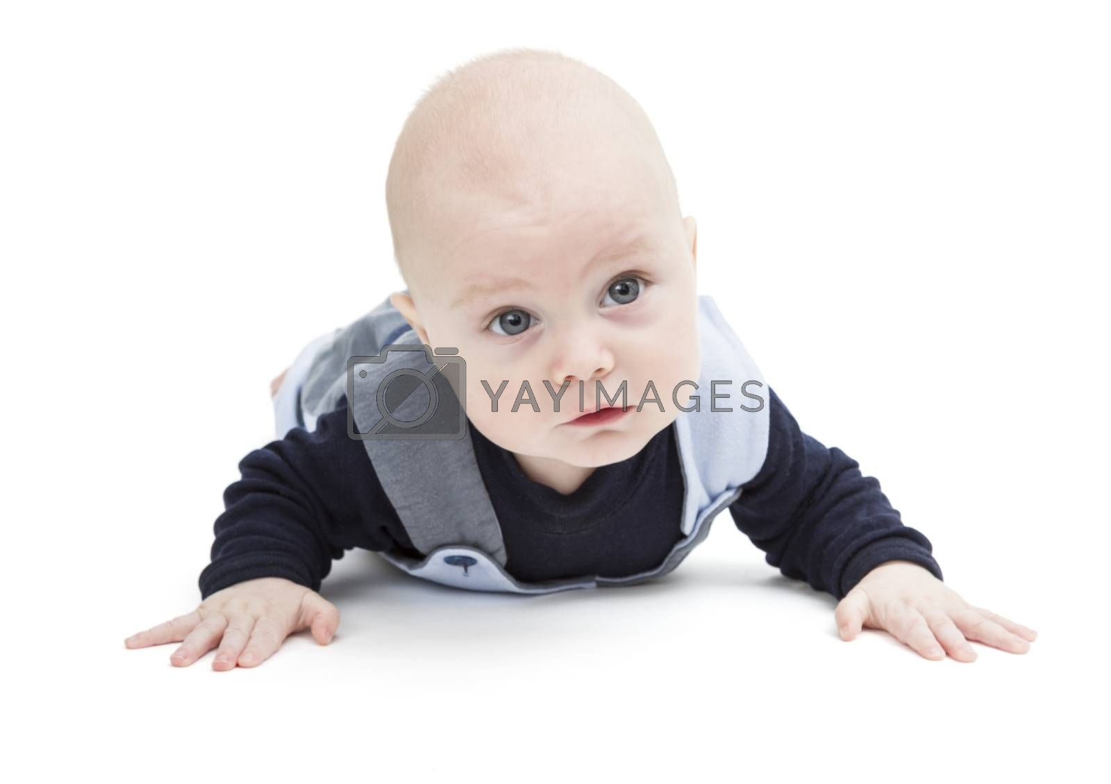6 month old baby crawling on white floor. isolated on white background