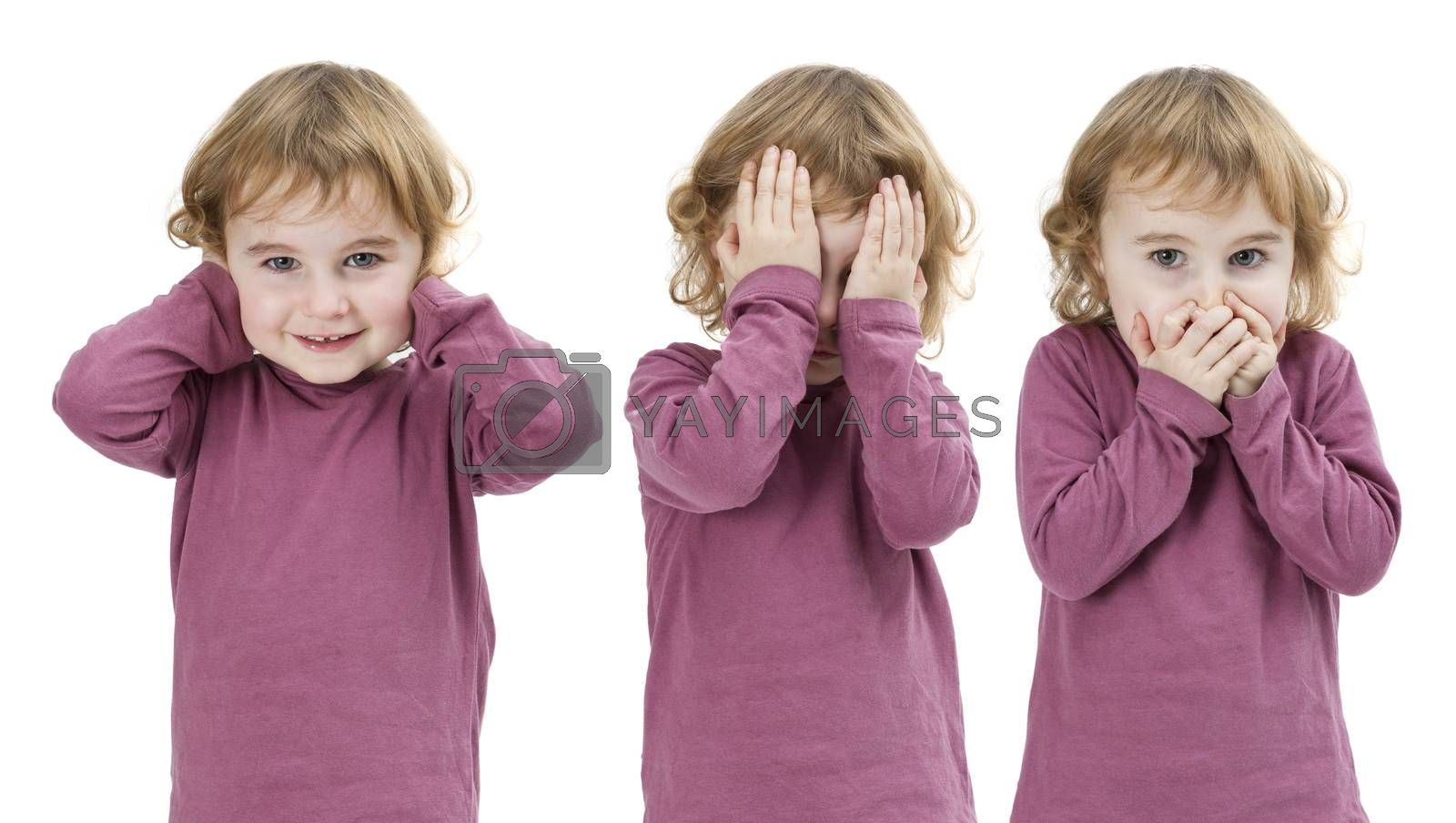 three pictures of the same child isolated on white and put together