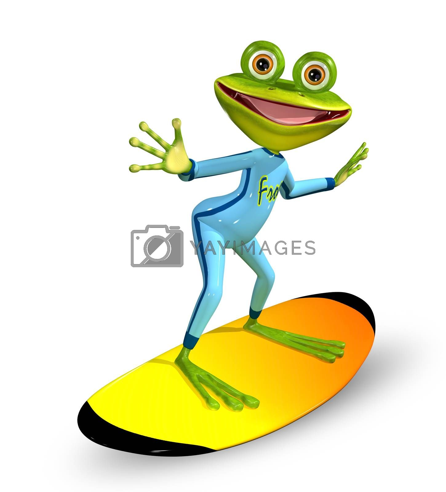 3d illustration merry green frog on a surfboard