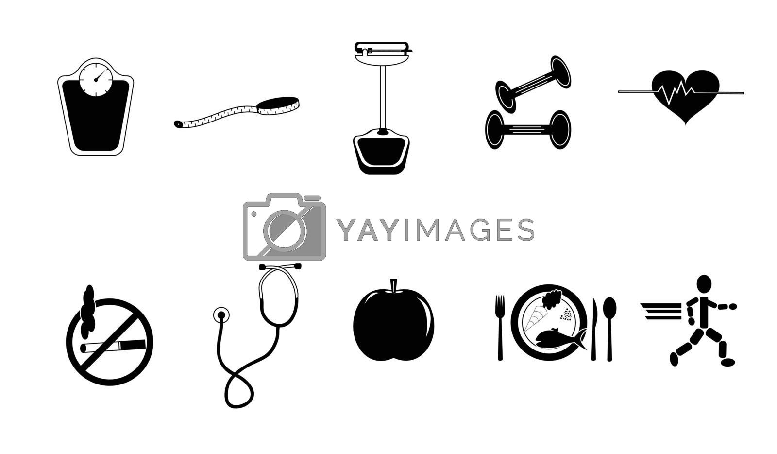 Black and white collection of health conscious items. Seperate elements. File is layered.