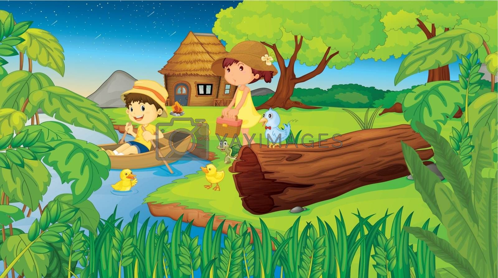 Illustration of 2 children camping in the woods