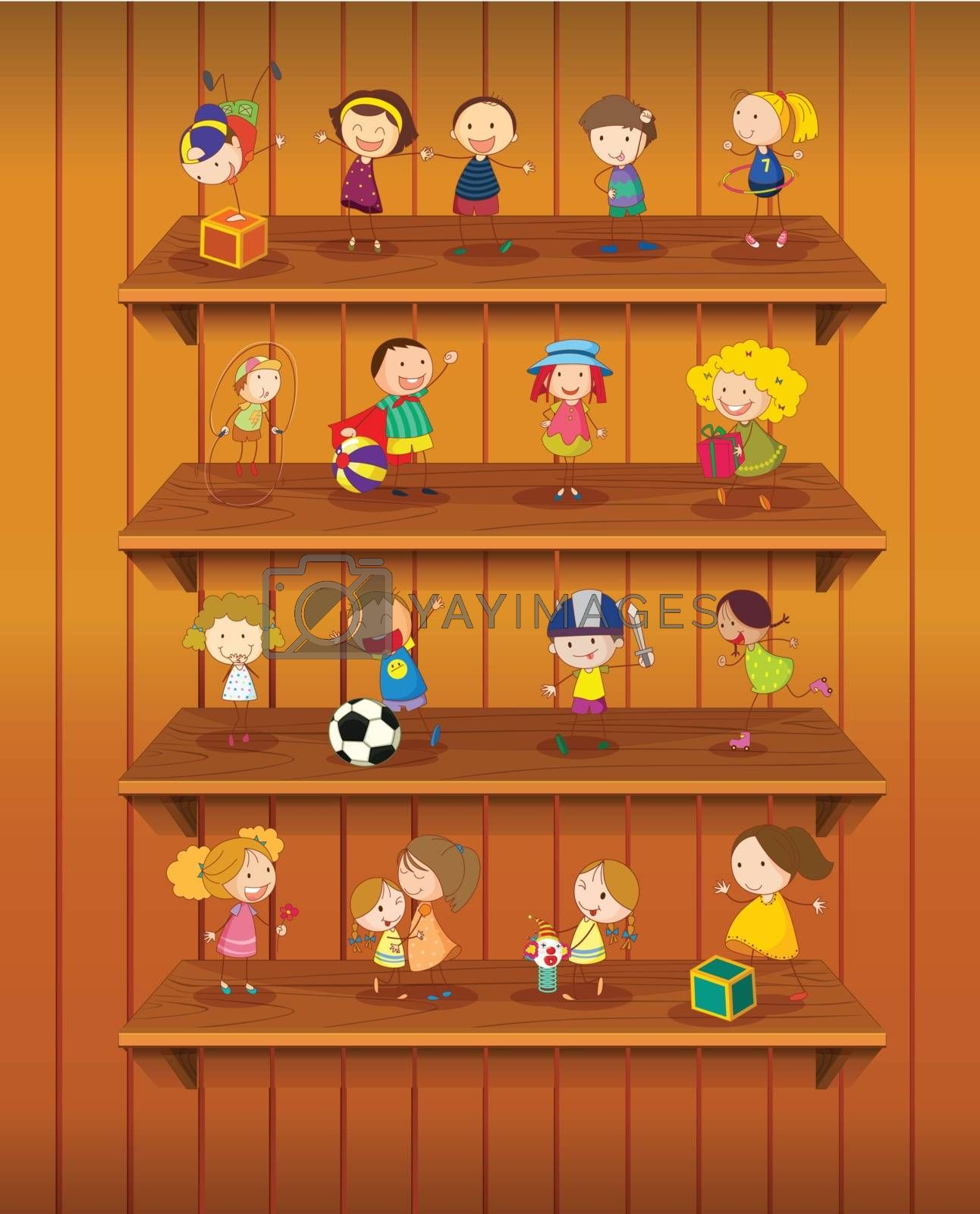 Illustration of toys playing on shelves