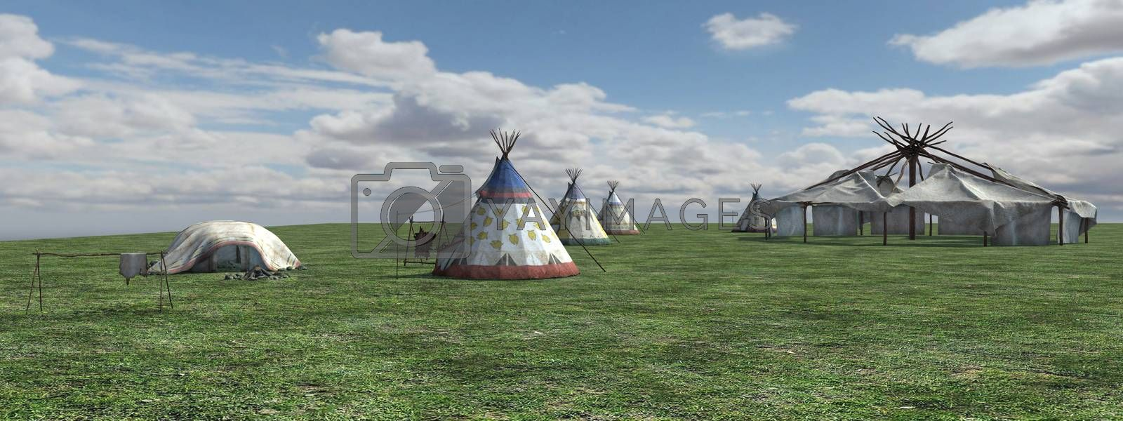 3D digital render of a  native american village, panorama view