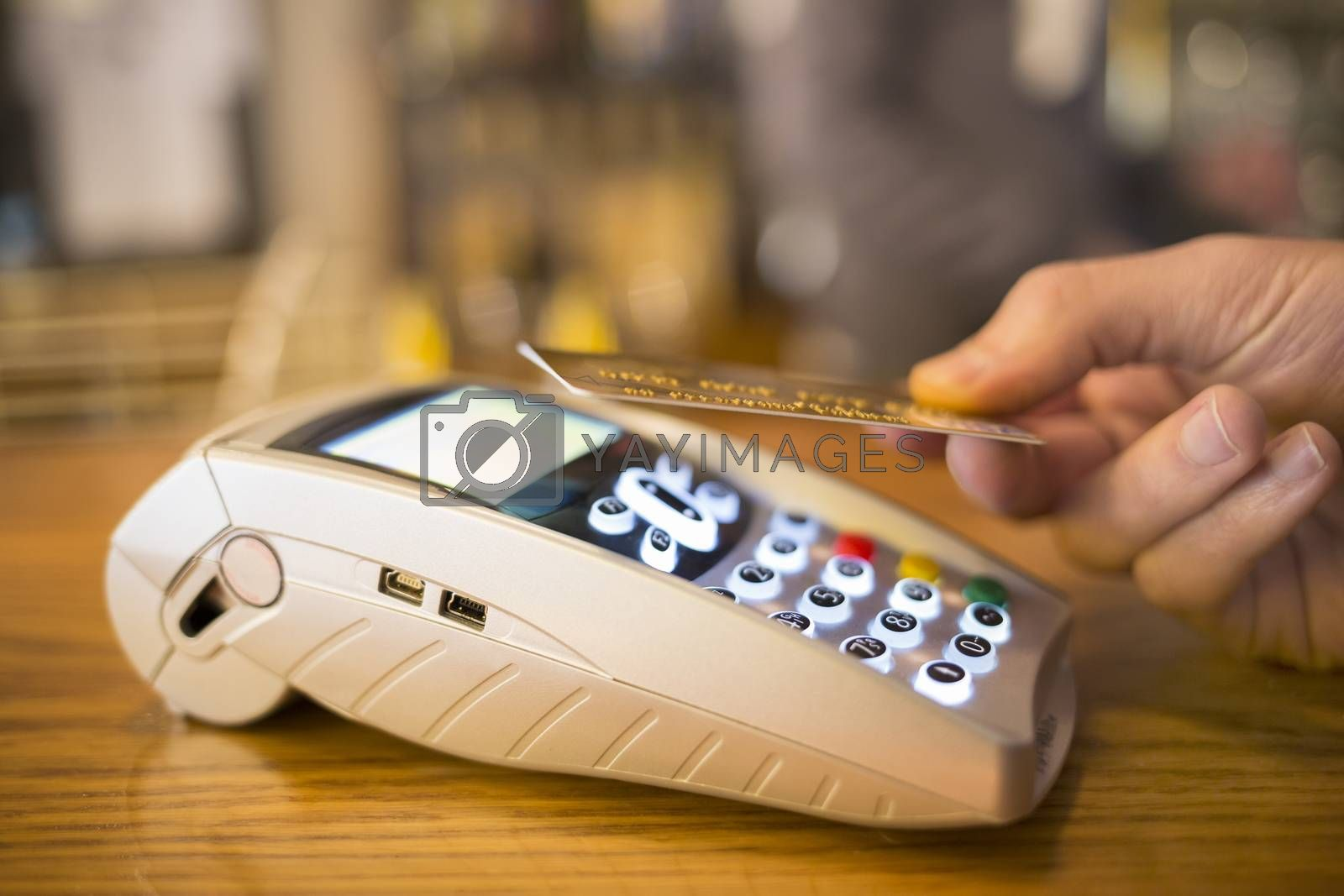 Male hand wallet payment shop