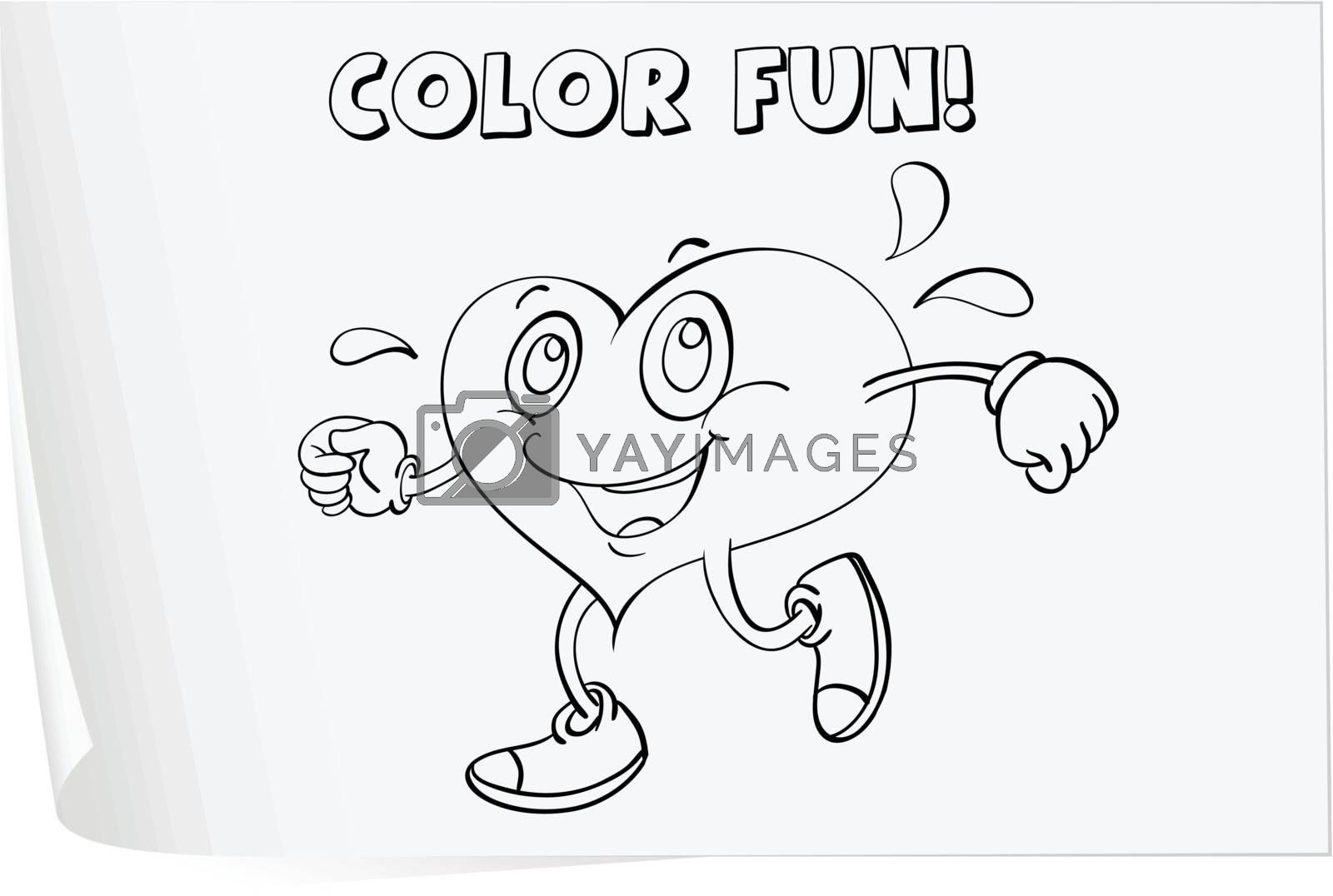 Illustration of a colouring worksheet (heart)