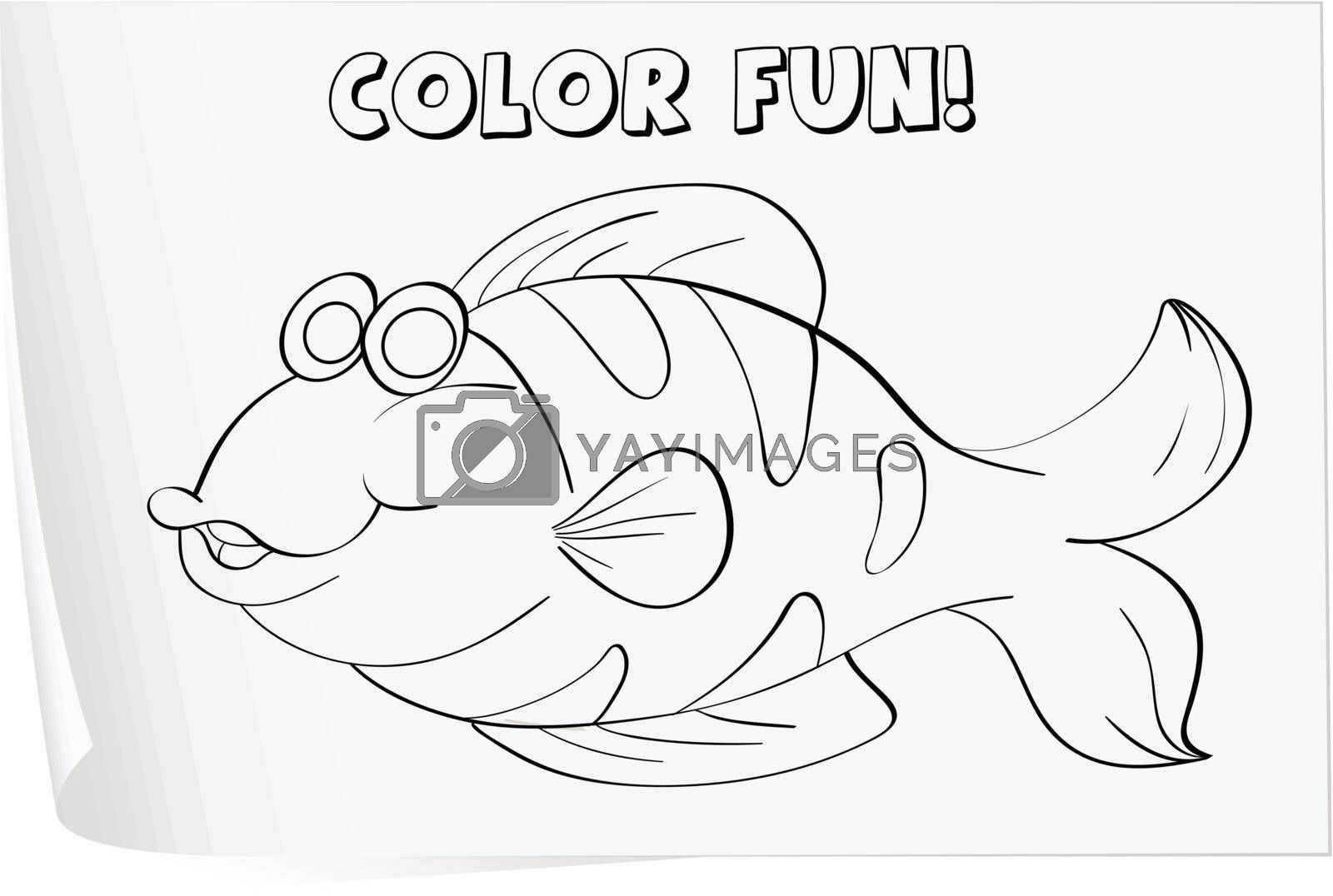 Colour worksheet of a fish (fish)