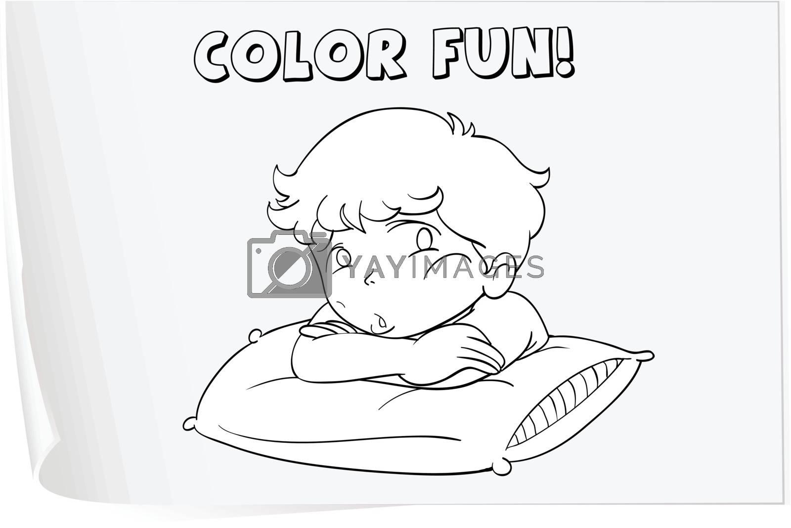 Illustration of a colouring worksheet (boy)
