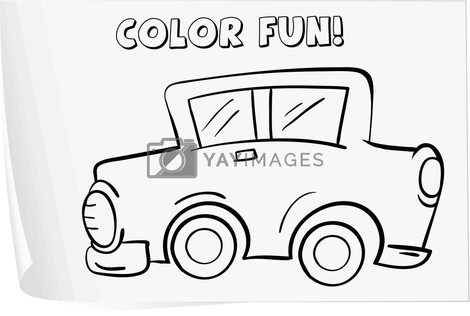 Illustration of a colouring worksheet (car)