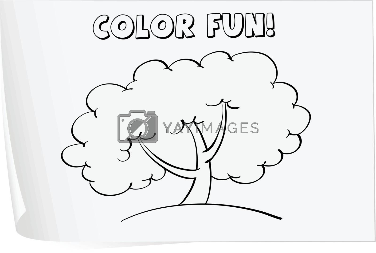 Illustration of a colouring worksheet (tree)