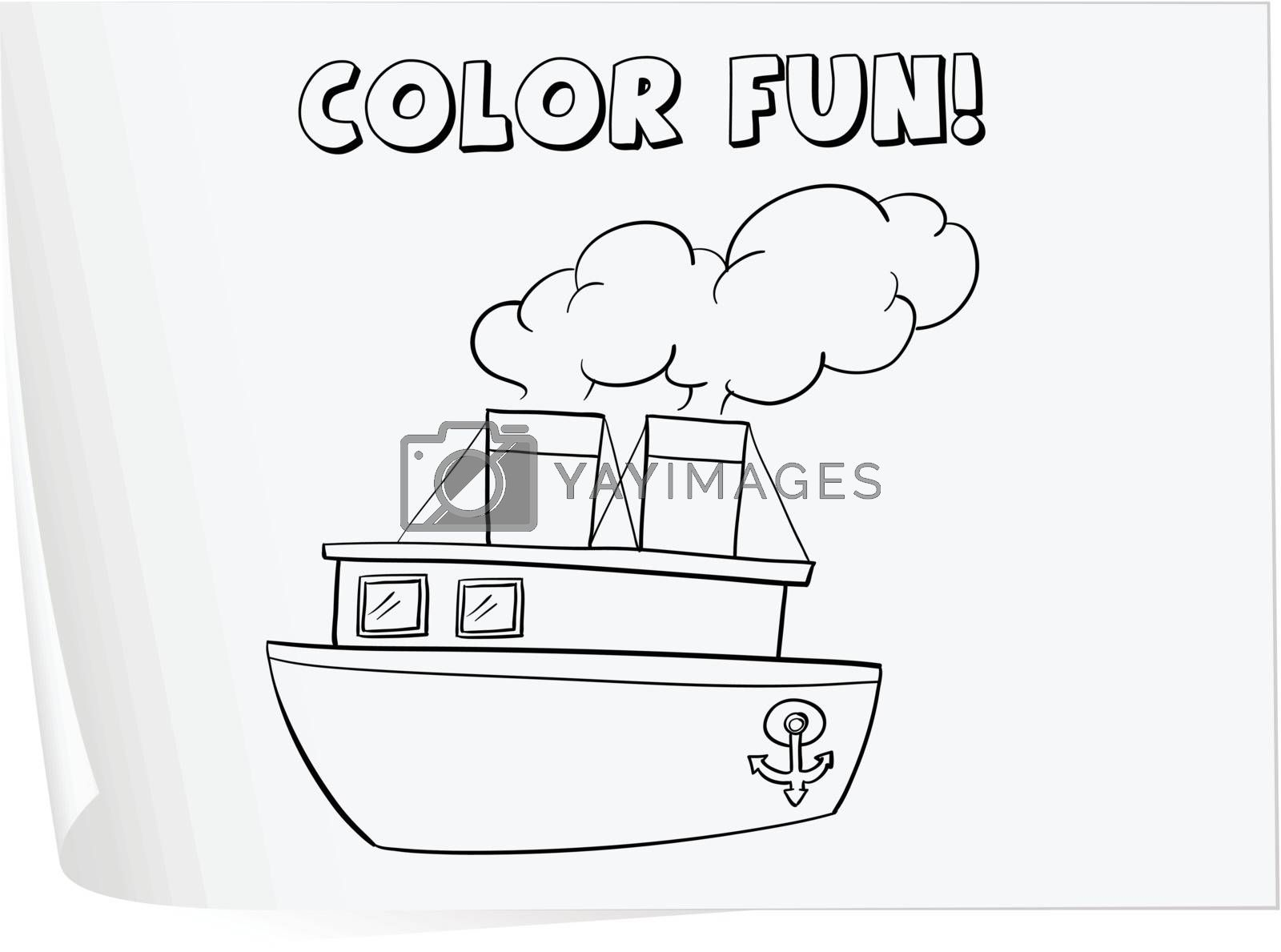 Illustration of a colouring worksheet (boat)