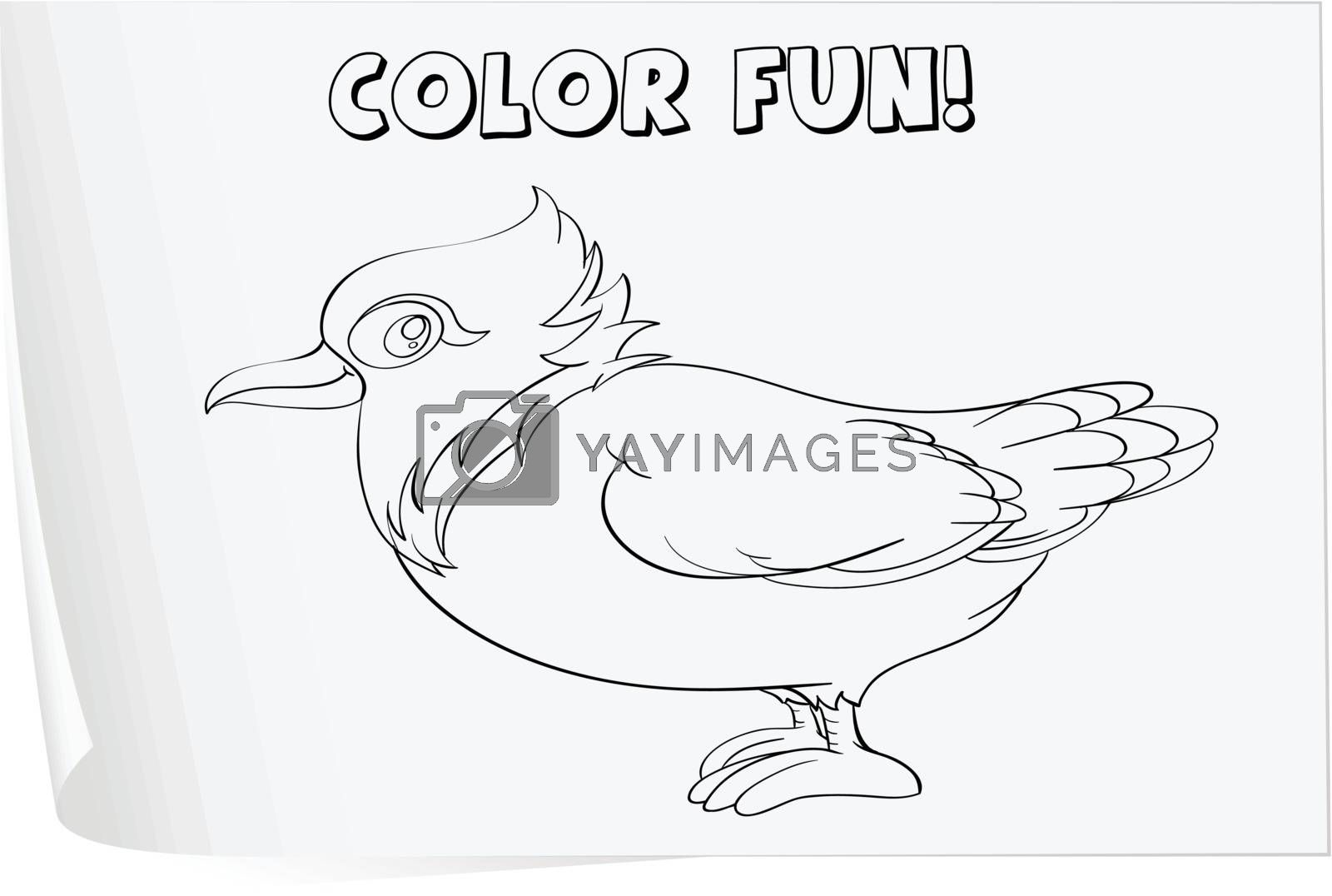 Illustration of a colouring worksheet (bird)