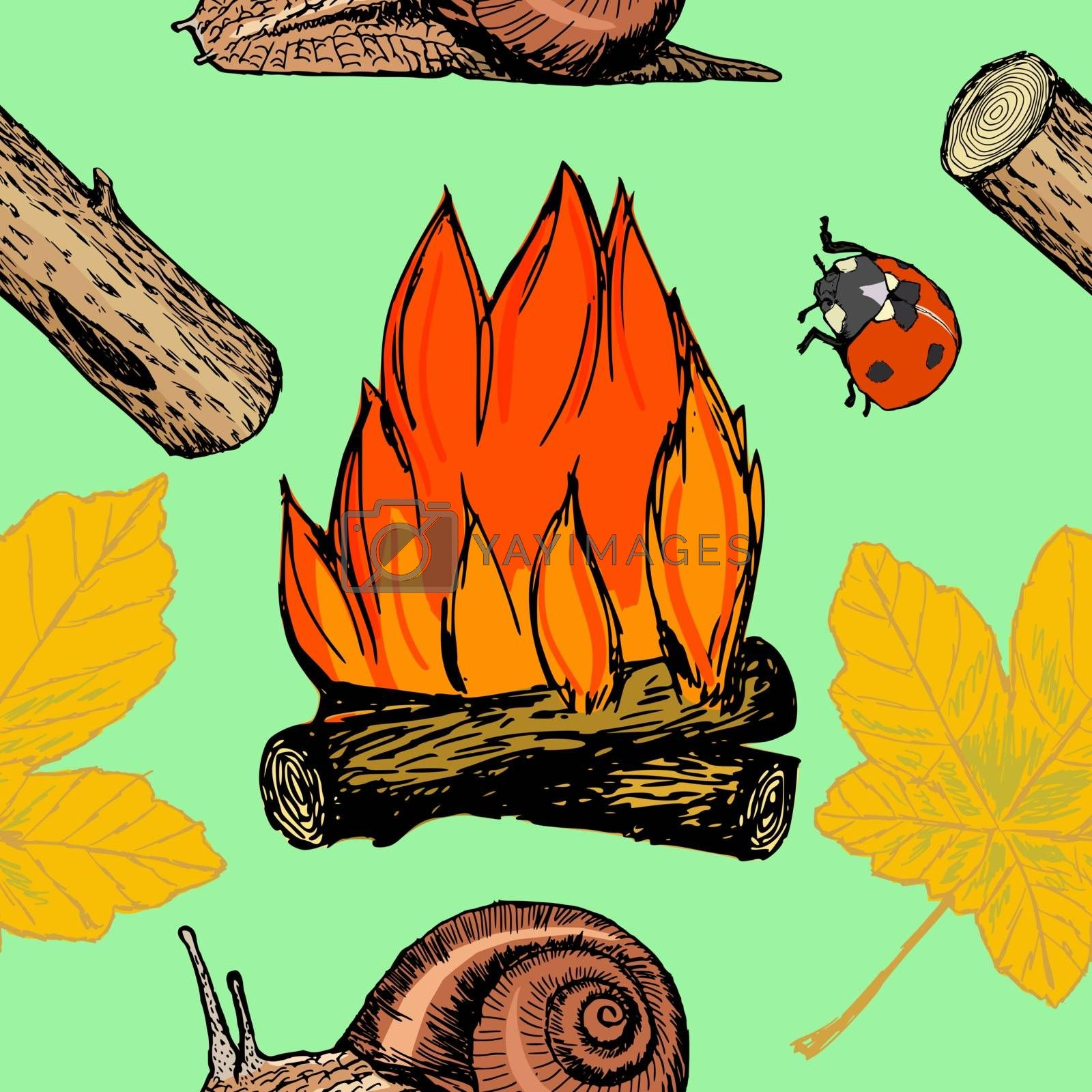 coloured seamless pattern with motive of campfire