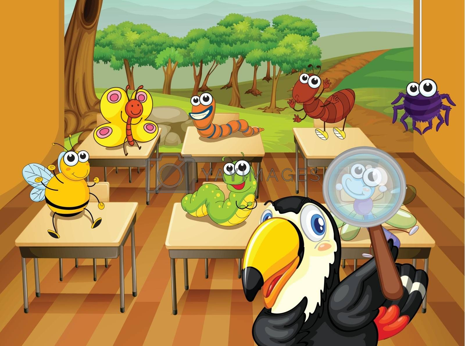 illustration of animals in a classroom