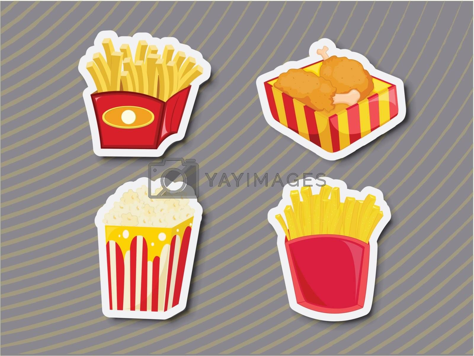Illustration of unhealthy food as stickers