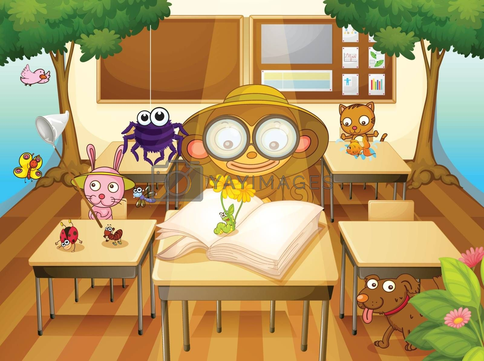 illustration of a animals and trees in classroom