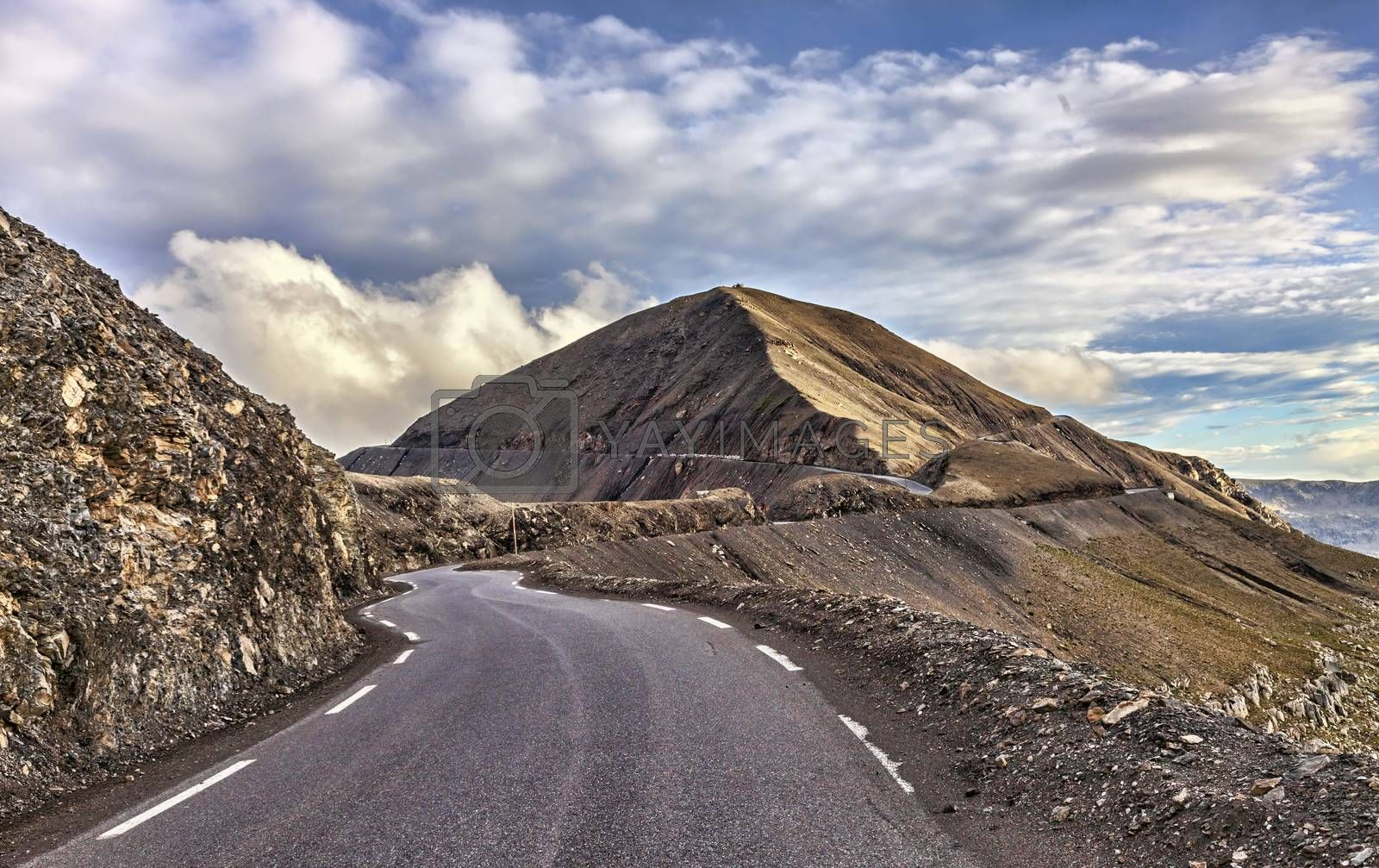Image of the road to Cime de La Bonnette (2802m) which is the highest asphalted road in France and one of the highest road in Europe. It is located in the Mercantour National Park on the border of the departments of Alpes-Maritimes and Alpes-de-Haute-Provence.