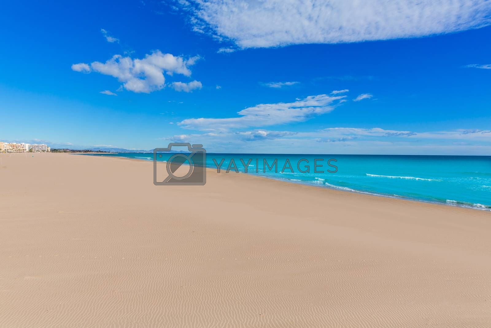 Sagunto beach in Valencia in sunny day in Mediterranean Spain