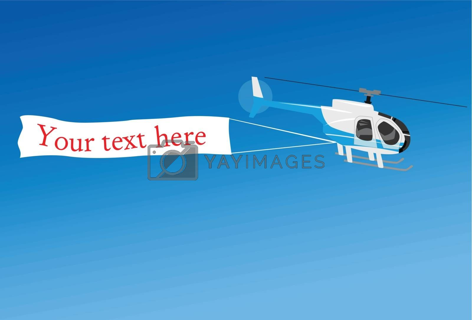 Aerial advertising with helicopter