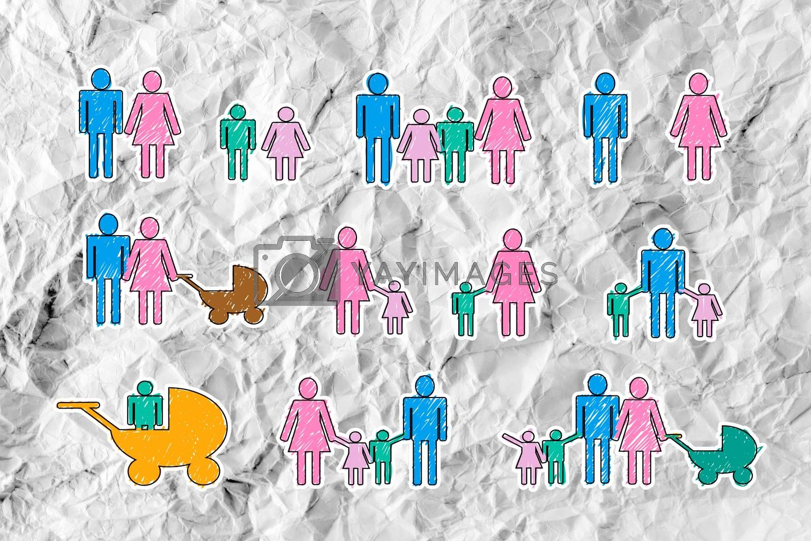 People Family icon Pictogram People on crumpled paper by kiddaikiddee