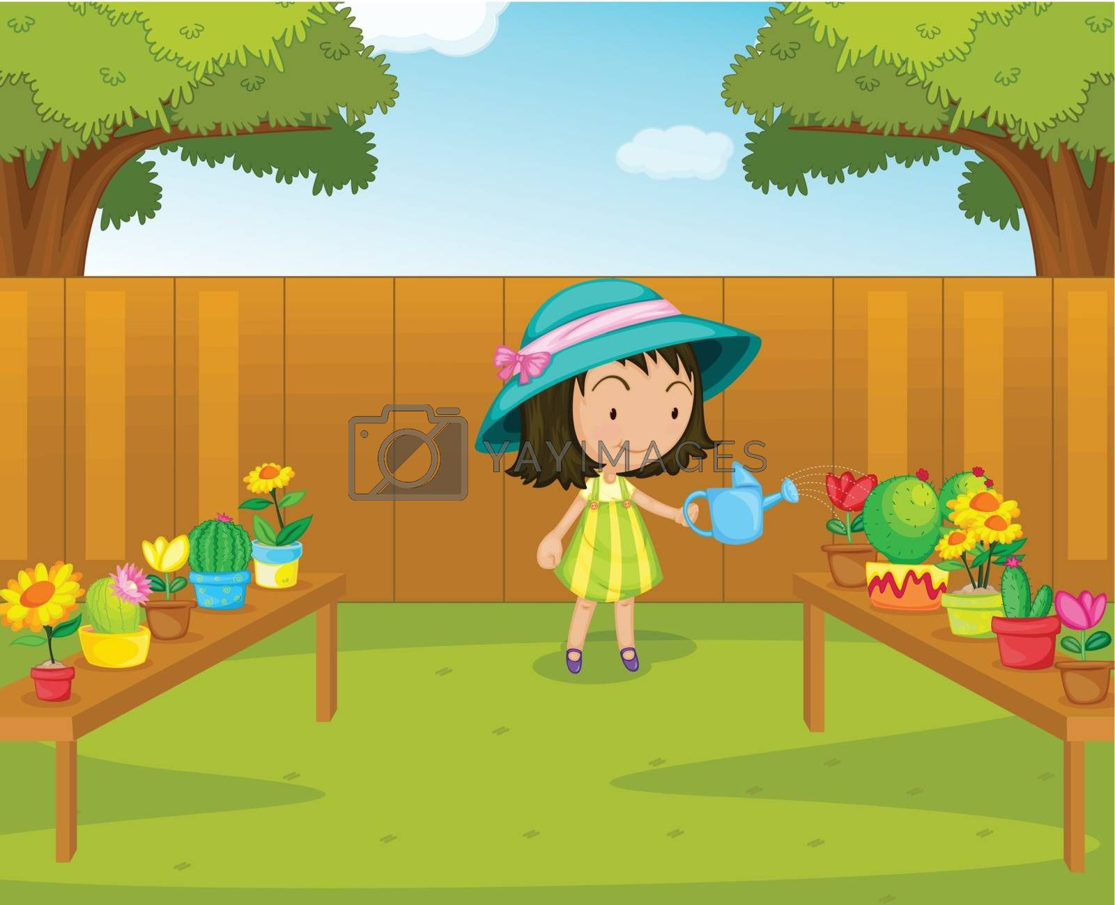 Illustration of a gril watering plants in the garden