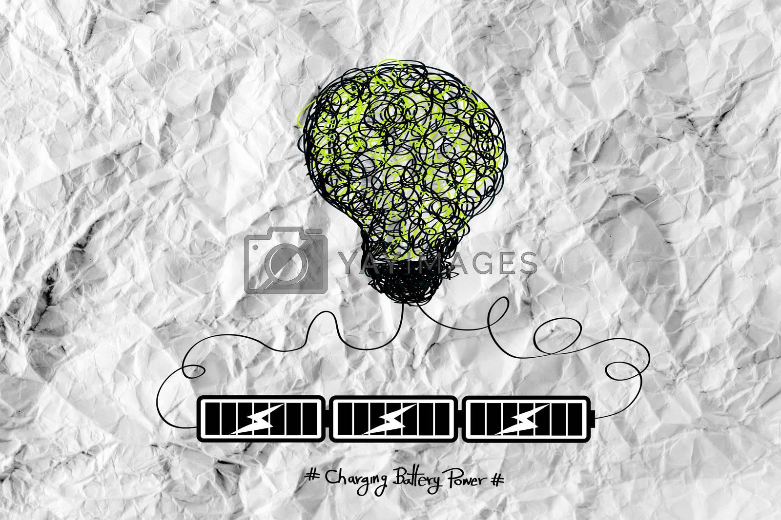 Light bulb Charging Battery Power Idea design on crumpled paper by kiddaikiddee