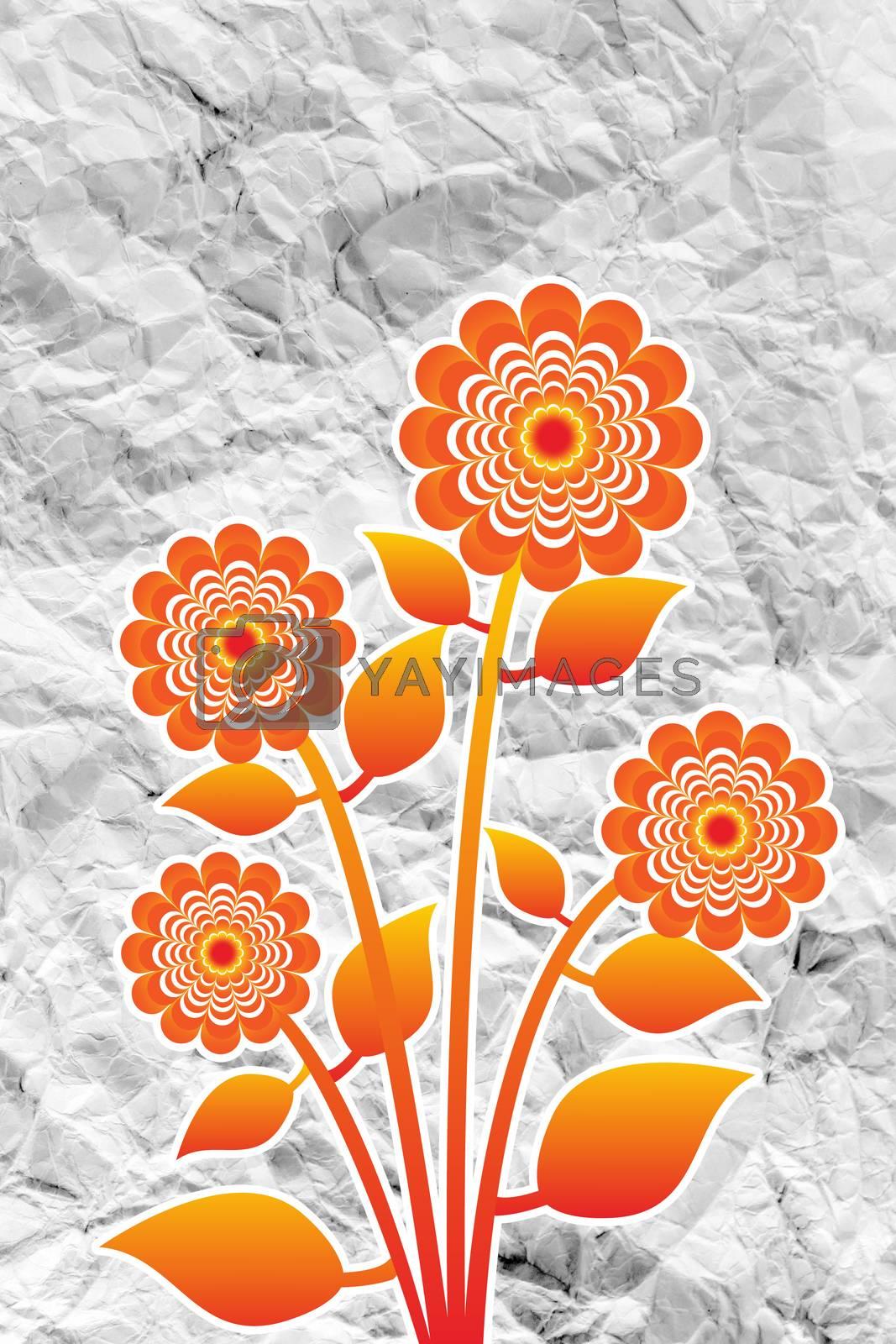 Flowers design on crumpled paper by kiddaikiddee