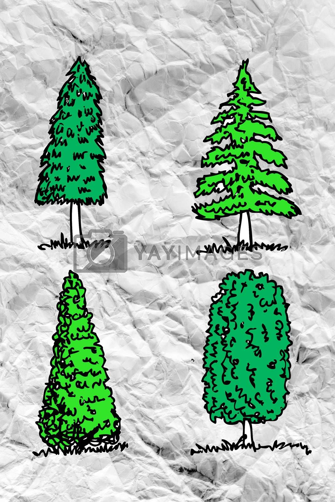 Set of trees with leaves on crumpled paper by kiddaikiddee