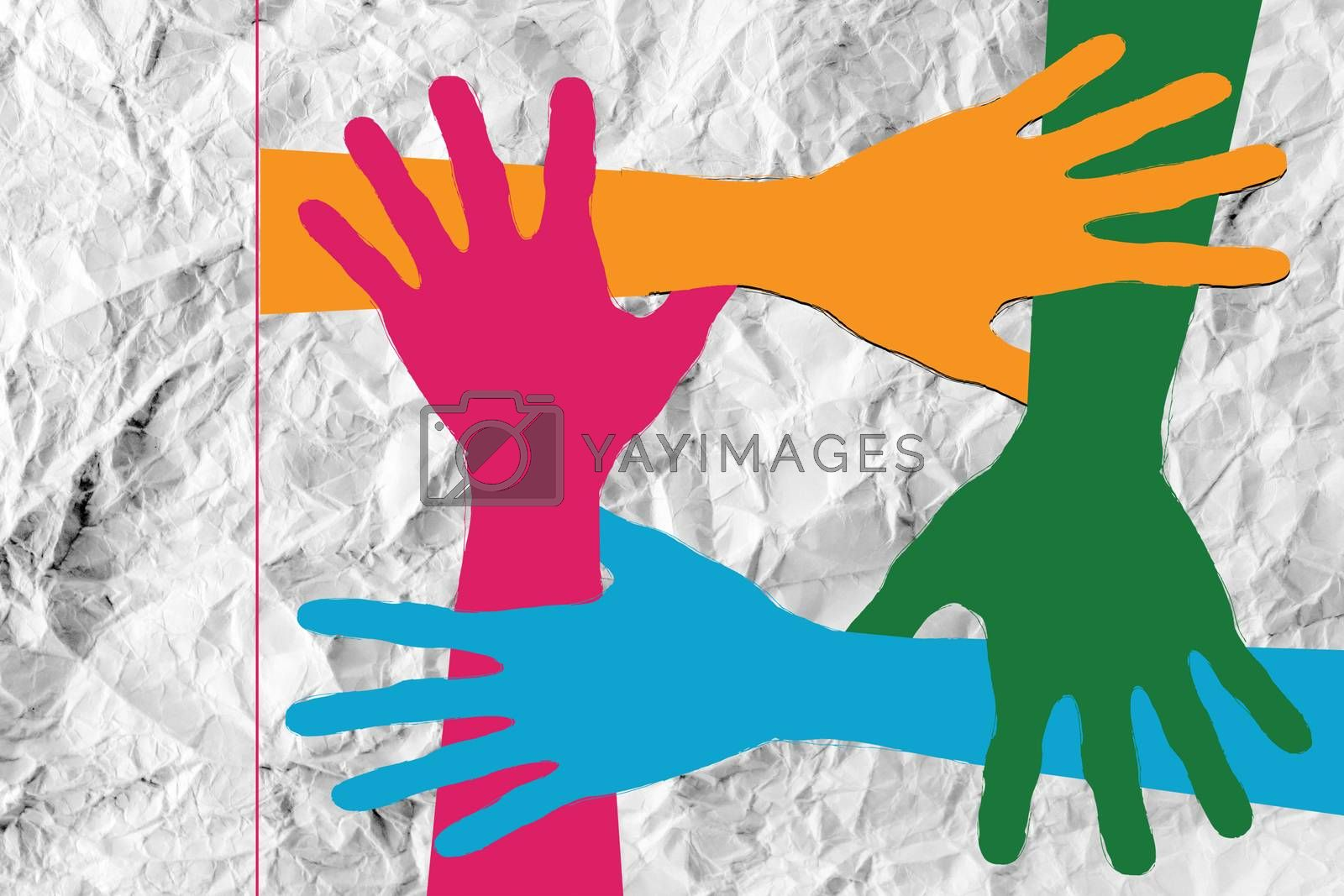 colorful silhouette hands background design by kiddaikiddee