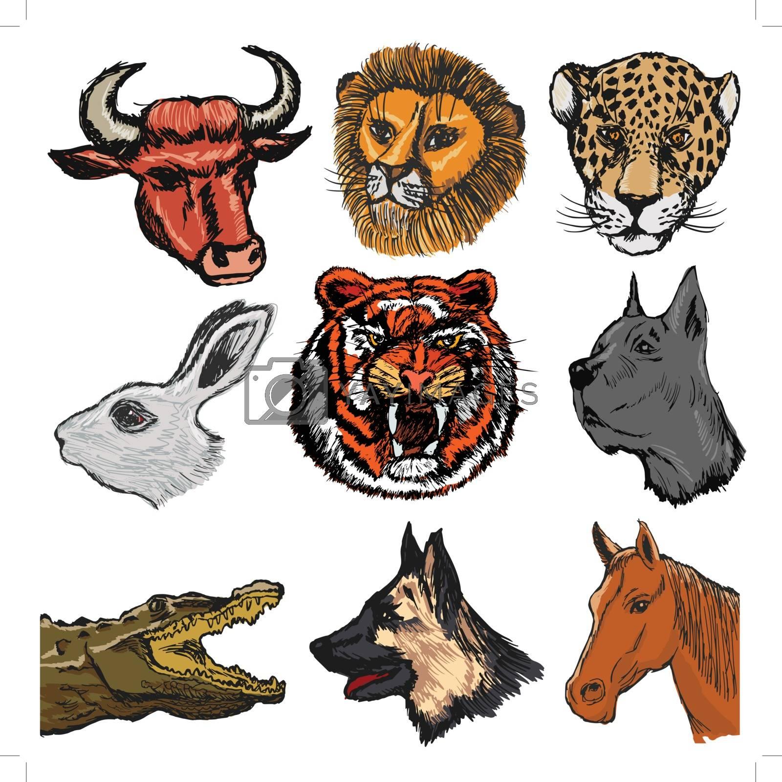 set of sketch, cartoon illustration of animals
