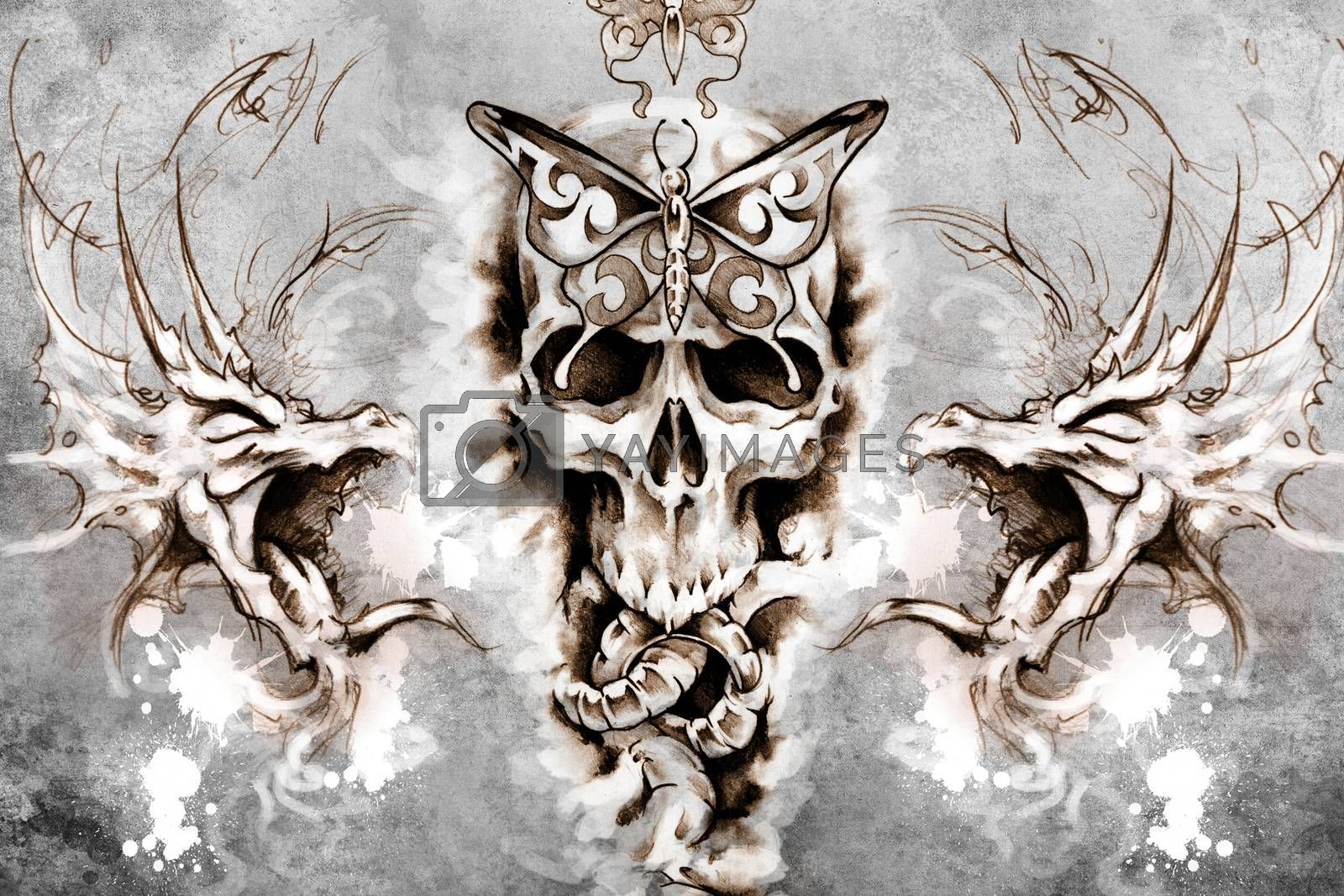 Death Tattoo design over grey background. textured backdrop. Art by FernandoCortes