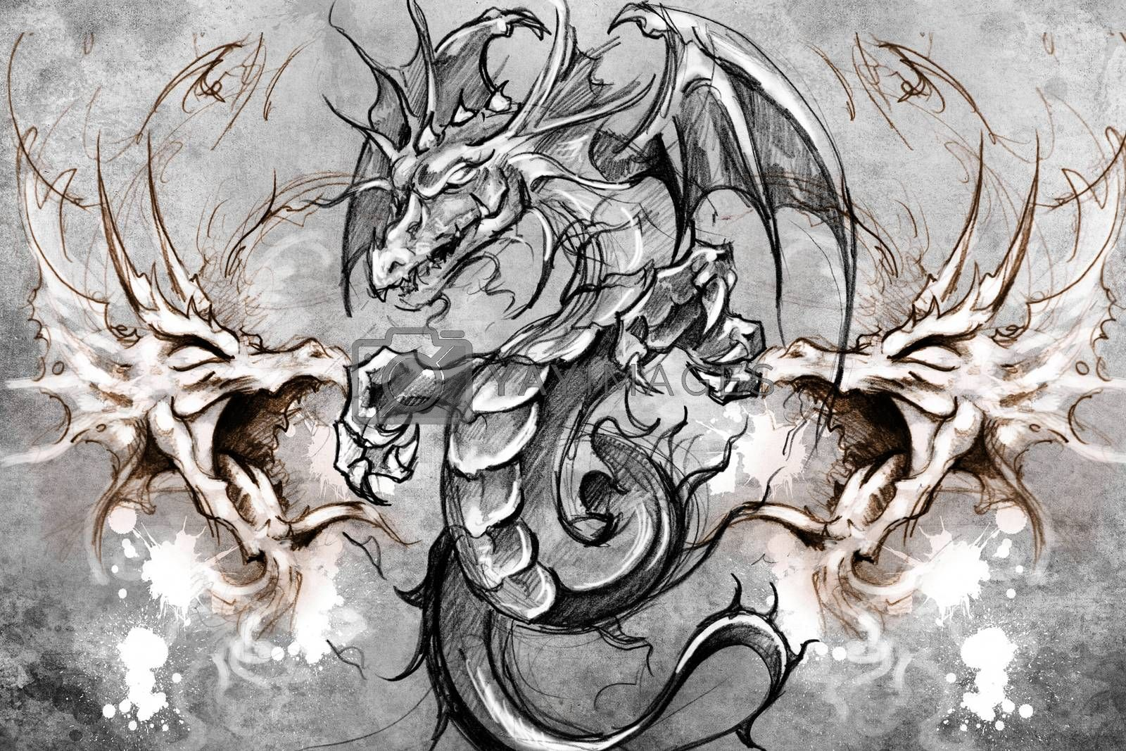 Dragons Tattoo design over grey background. textured backdrop. A by FernandoCortes