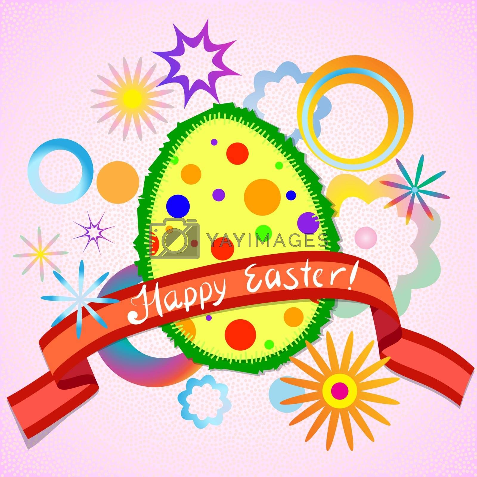 Abstract colorful easter egg and ribbon by heliburcka