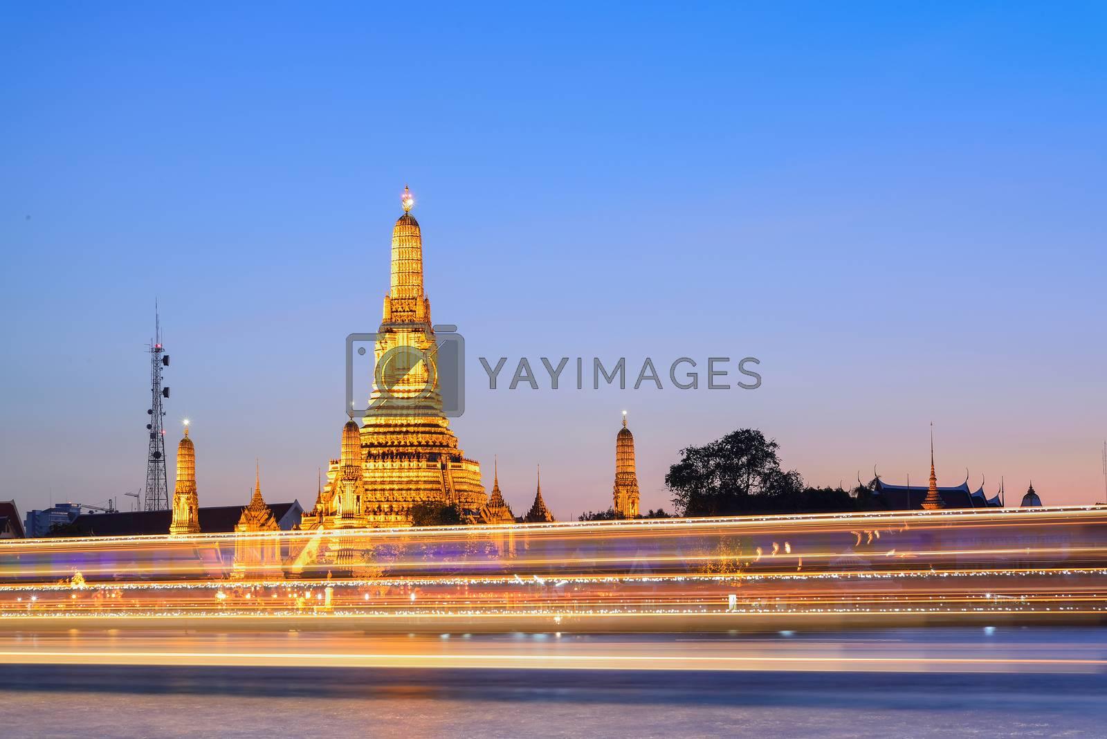 Prang of Wat Arun with lighting effect  by jakgree