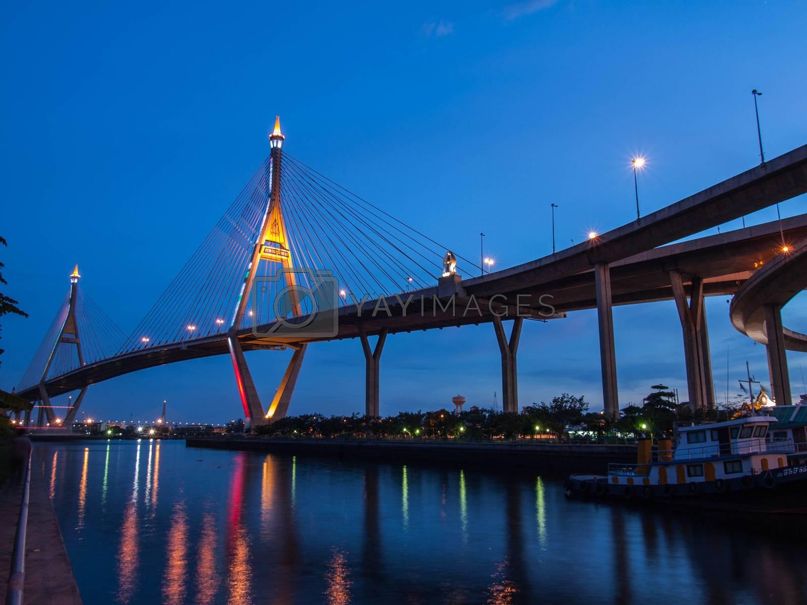 Bhumibol Bridge, The Industrial Ring Road Bridge in Bangkok, Tha by jakgree