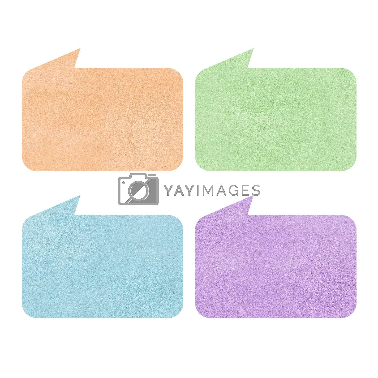 talk tag recycled paper on white background by jakgree