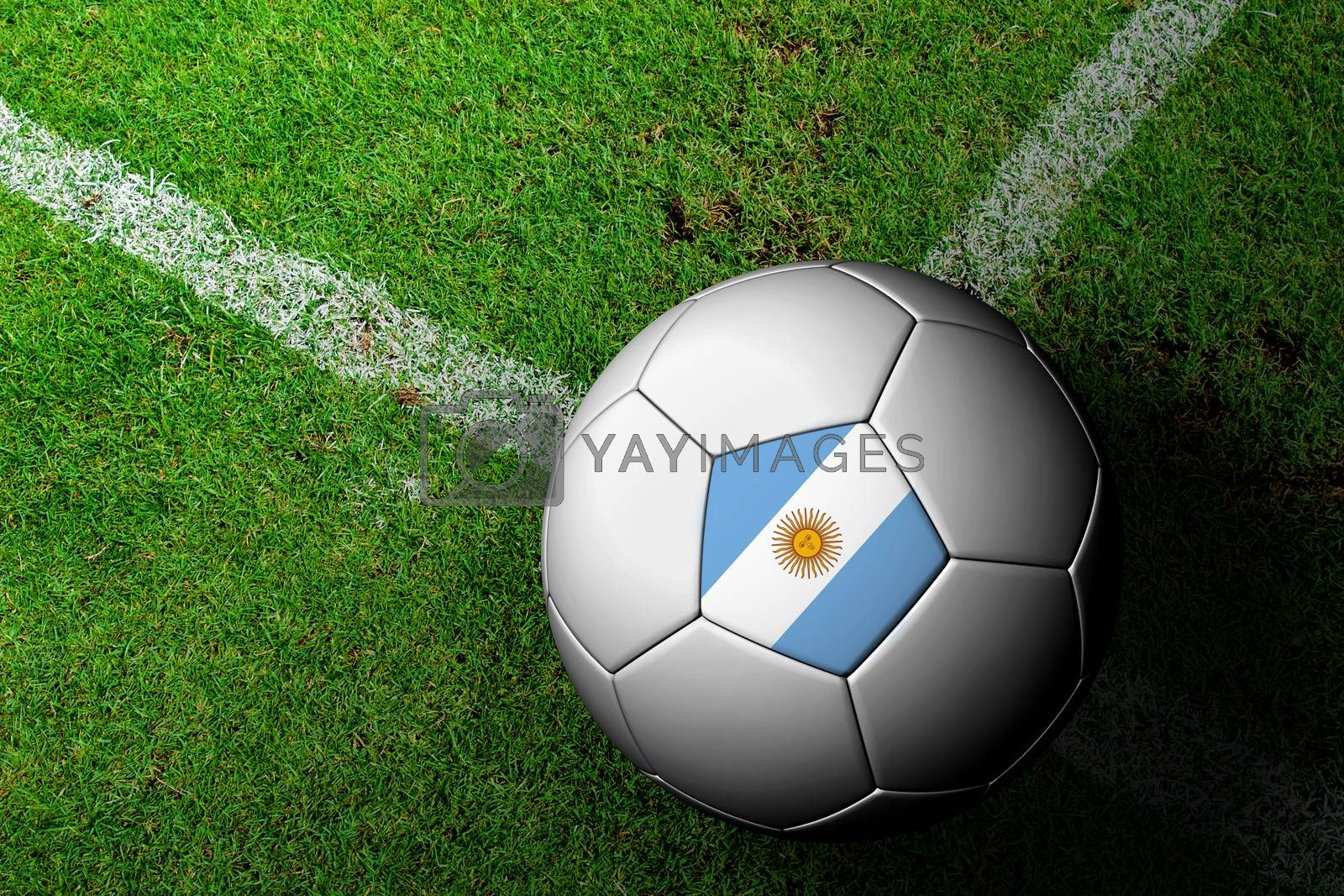 Argentina Flag Pattern of a soccer ball in green grass by jakgree
