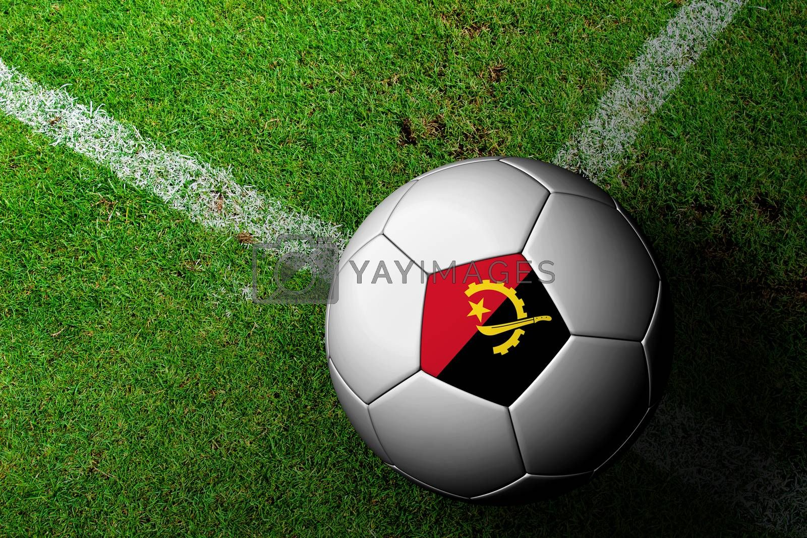 Angola Flag Pattern of a soccer ball in green grass by jakgree