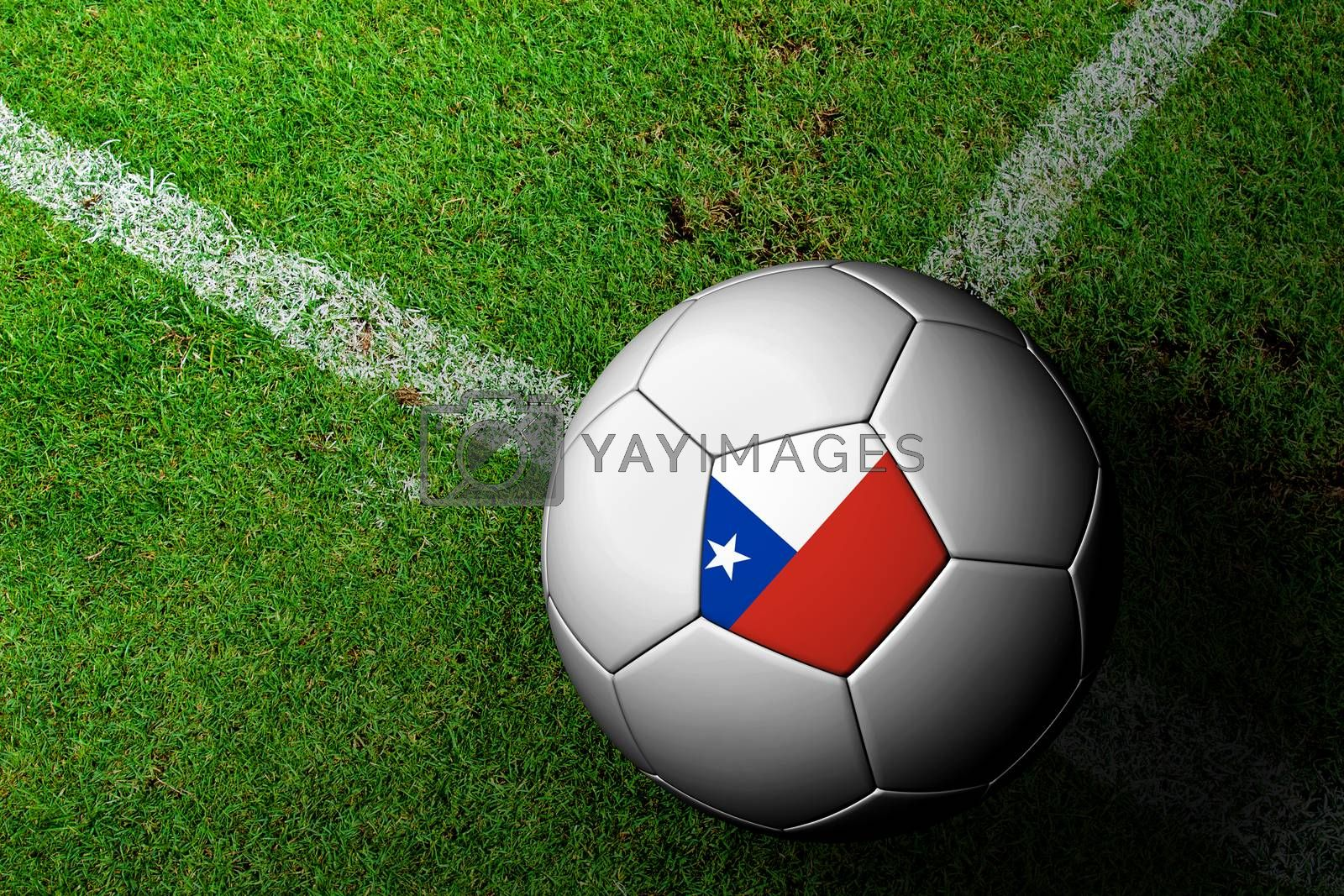 Chile Flag Pattern of a soccer ball in green grass by jakgree