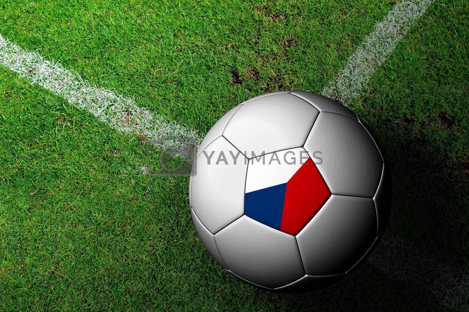Czech Flag Pattern of a soccer ball in green grass by jakgree