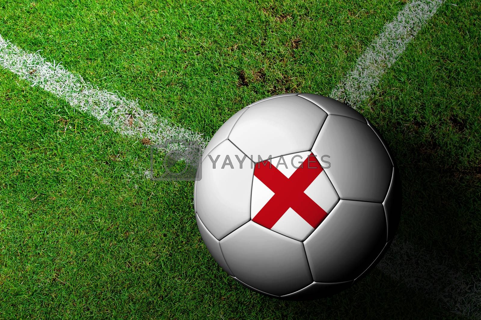 England Flag Pattern of a soccer ball in green grass by jakgree